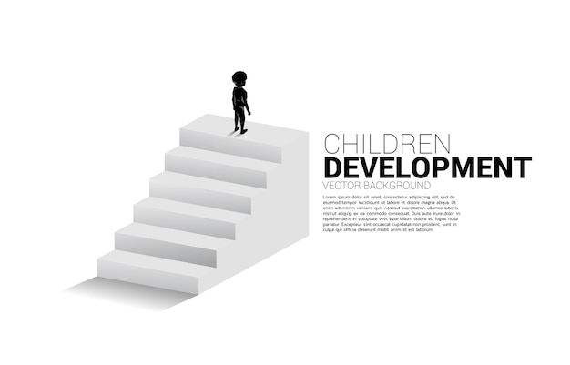 Silhouette of boy standing on top of stair. banner of people ready to up level of career and business.