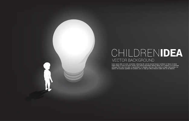 Silhouette of boy standing with light bulb . banner of education solution and future of children.
