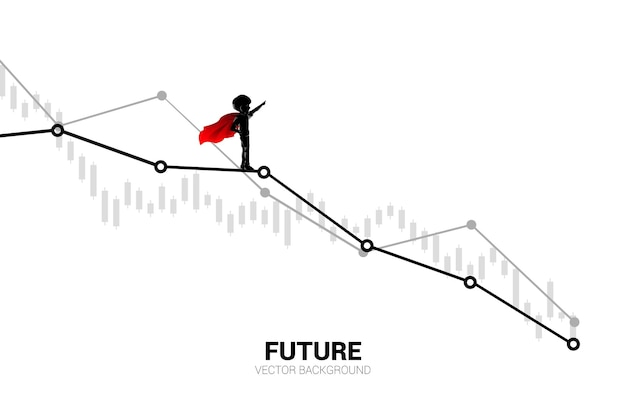 Silhouette of boy in superhero on down graph. concept of education start and future of children.