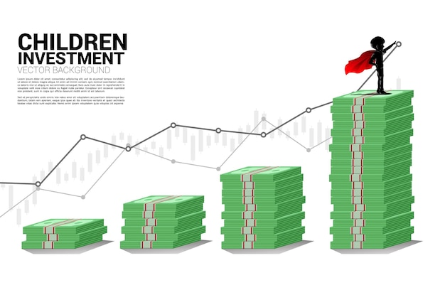 Silhouette of boy in superhero on stack of banknote. concept of education start and future of children.