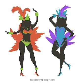 Silhouette brazilian carnival dancer collection