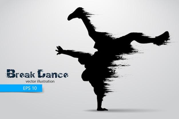Silhouette of a break dancer man