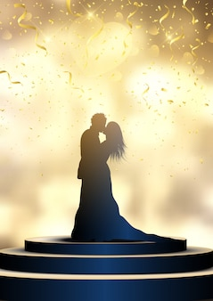 Silhouette of a bride and groom on a spotlit podium with confetti, wedding day