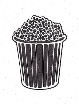 Silhouette of bucket full of popcorn vector illustration striped paper cup with junk snack