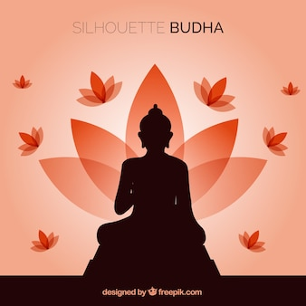 Silhouette of budha with flat design