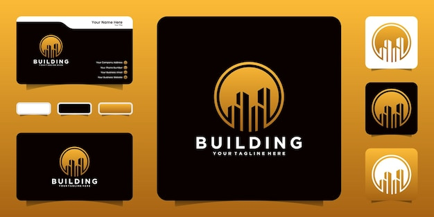 Silhouette building logo with circle and business card inspiration
