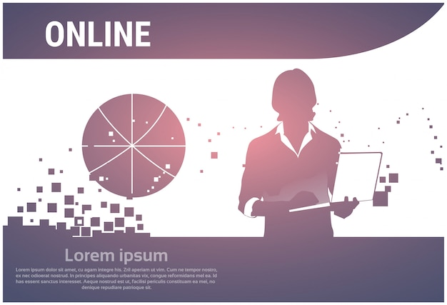 Silhouette business man using laptop typing working online