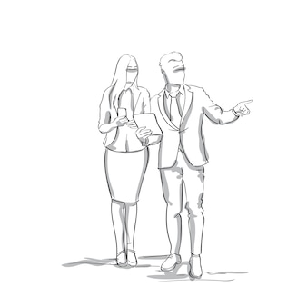 Silhouette business man and woman talking businessman point finger to copy space sketch businesspeople couple