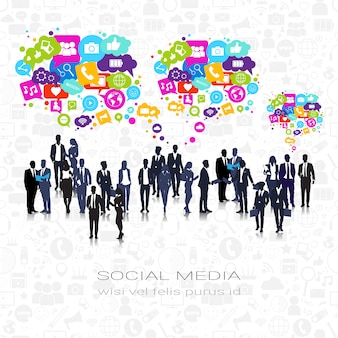 Silhouette business people group social media icons chat bubble network communication connection
