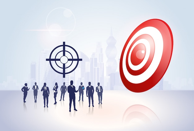 Silhouette business people group target aim success concept