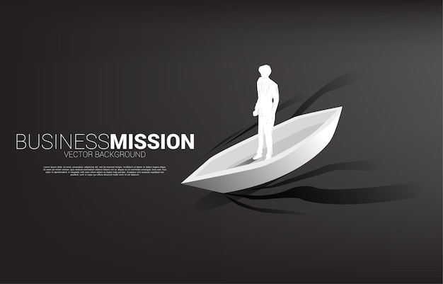 Silhouette of businessman on boat moving forward. business banner of leadership and vision mission.