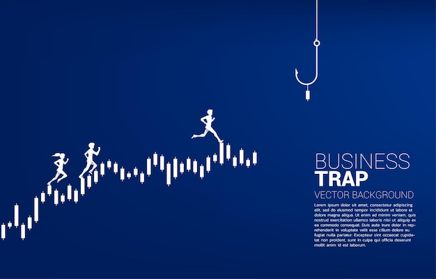 Silhouette of businessman and businesswoman and businessman running on candle graph with fishing hook. concept of bait and hook in business.