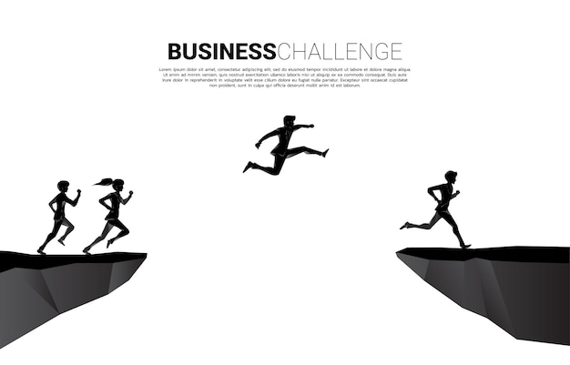 Silhouette of businessman and businesswoman jumping over the gap of valley. concept of business challenge risk.
