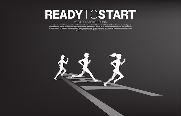 Silhouette of businessman and businesswoman ready to running from start line. concept of people ready to start career and business