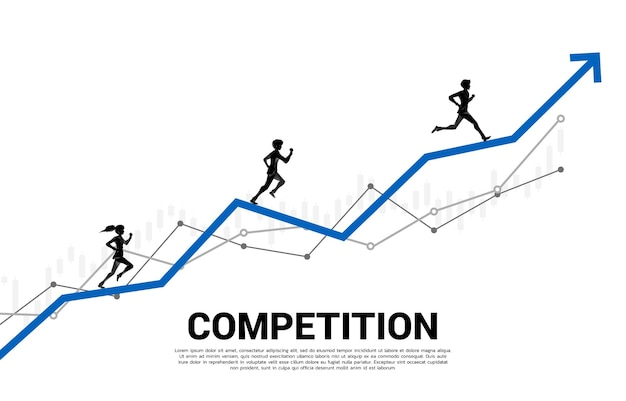 Silhouette of businessman and businesswoman run on growing graph. concept of people ready to start career and business