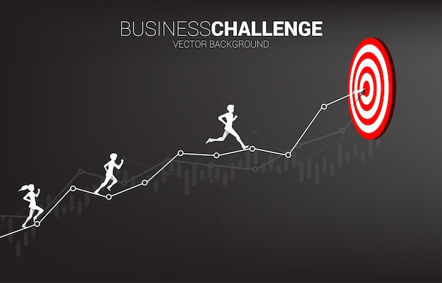 Silhouette of businessman and businesswoman running on the arrow graph to dartboard. concept for business challenge and competition.
