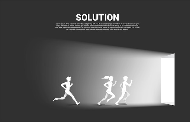 Silhouette of businessman and businesswoman running to exit door. concept of career start up and business solution.