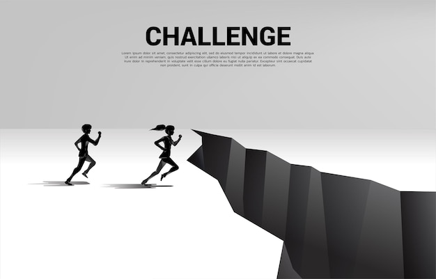 Silhouette of businessman and businesswoman running to jumping over the gap. concept of business challenge and competition.