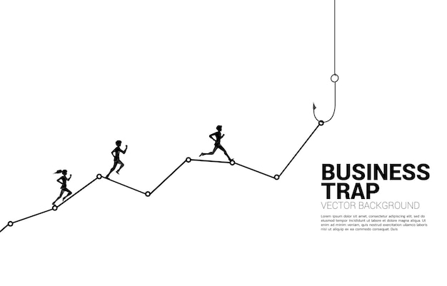 Silhouette of businessman and businesswoman running on line graph with fishing hook. concept of bait and hook in business.