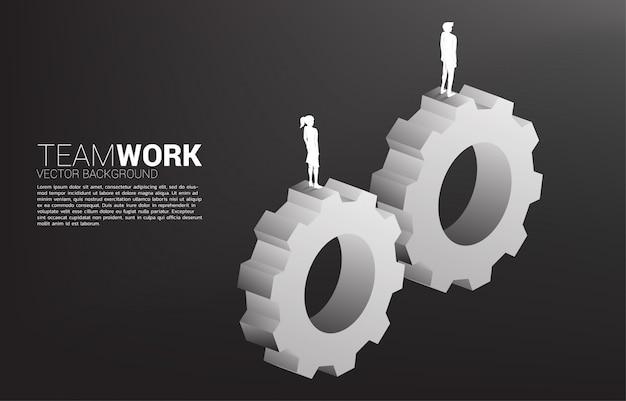 Silhouette of businessman and businesswoman standing on gears to work together. concept of business teamwork.