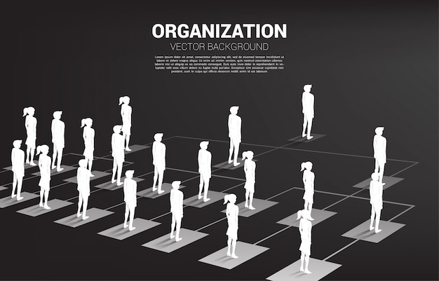 Silhouette of businessman and businesswoman standing on organization chart .