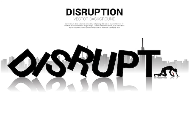 Silhouette of businessman crawl at the end of disrupt domino collapse. concept of business industry disrupt.
