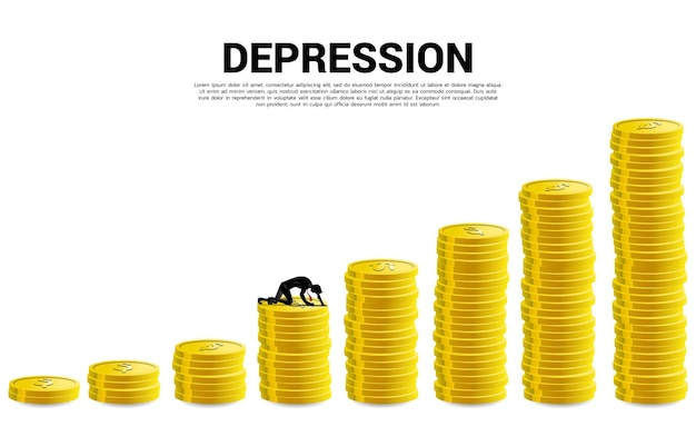 Silhouette of businessman crawling on stack of coin. concept for depression business in work.