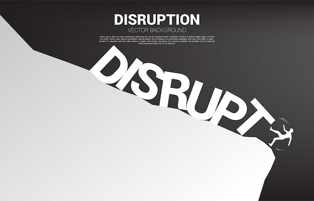 Silhouette of businessman falling down from the cliff by disruption collapse. concept for crisis from business disruption