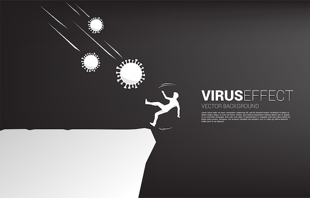 Silhouette of businessman falling down from corona virus to drop from valley. concept for economic crisis from virus outbreak.