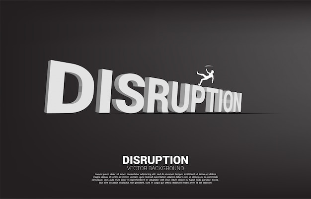 Silhouette of businessman falling down from disruption text 3d. concept for crisis from business disruption