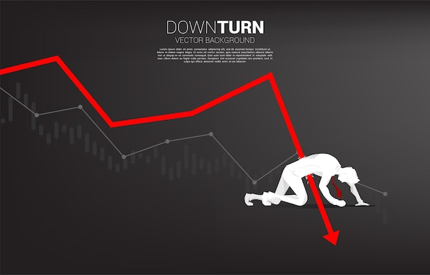 Silhouette of businessman falling down from downturn graph. concept for fail and accidental business
