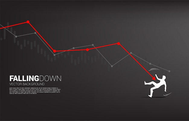 Silhouette of businessman falling down from downturn graph.