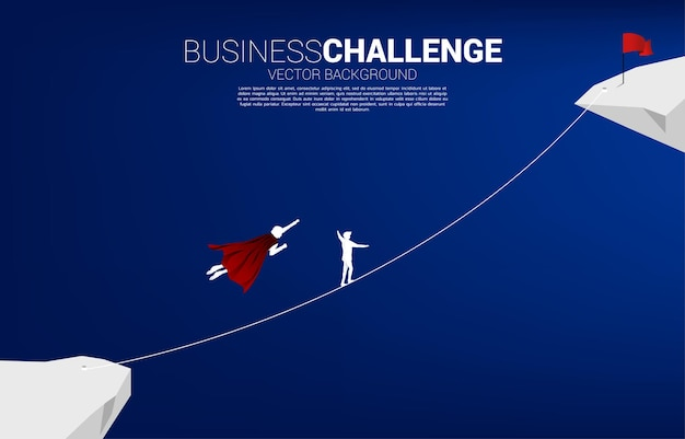 Silhouette of businessman flying compete with the man walking on rope to goal.concept for business risk and career path