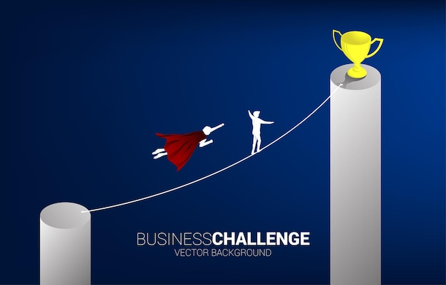 Silhouette of businessman flying compete with the man walking on rope to trophy.concept for business risk and career path