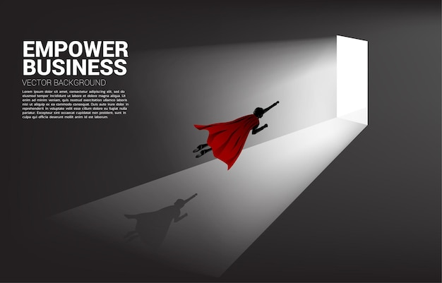 Silhouette of businessman flying to exit door. concept of career start up and business solution.