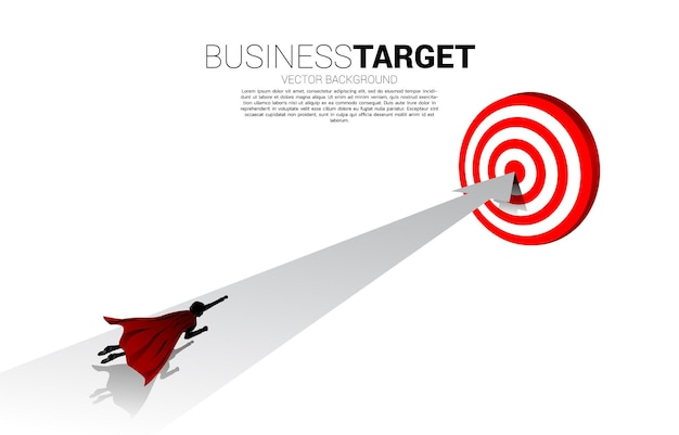 Silhouette of businessman flying fast with arrow to dartboard. concept of boost and growth in business.