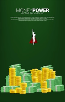 Silhouette of businessman flying from coin and banknote stack. concept of boost and growth in business.