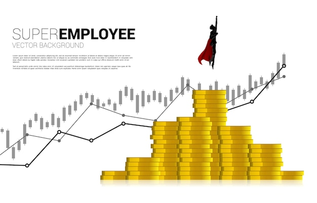 Silhouette of businessman flying from higher column of coin stack. concept of boost and growth in business.