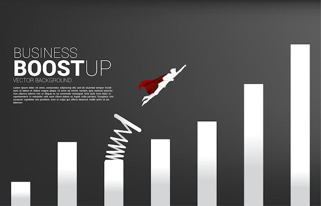 Silhouette of businessman flying to higher column of graph with springboard. banner of boost and growth in business.