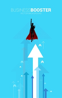 Silhouette of businessman flying to higher with arrow. concept of boost and growth in business.