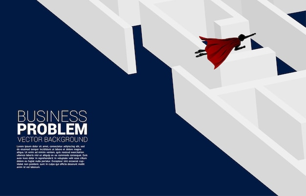 Silhouette of businessman flying over the maze. business concept for problem solving and finding idea.