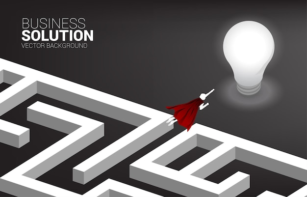 Silhouette of businessman flying over the maze to light bulb. business concept for problem solving and finding idea.