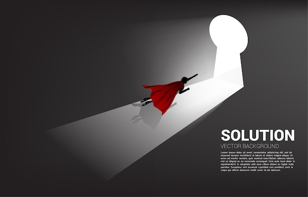 Silhouette of businessman flying to move out to key hole door. find the solution concept vision mission and goal of business