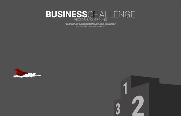 Silhouette of businessman flying to podium. business concept for start up and fast growth company.