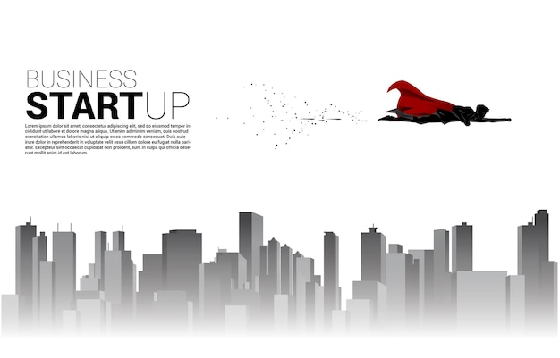 Silhouette of businessman flying in sky with the city. business concept for start up and fast growth company.