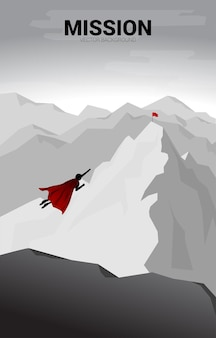 Silhouette of businessman flying to top of mountain. business concept for start up and fast growth company.