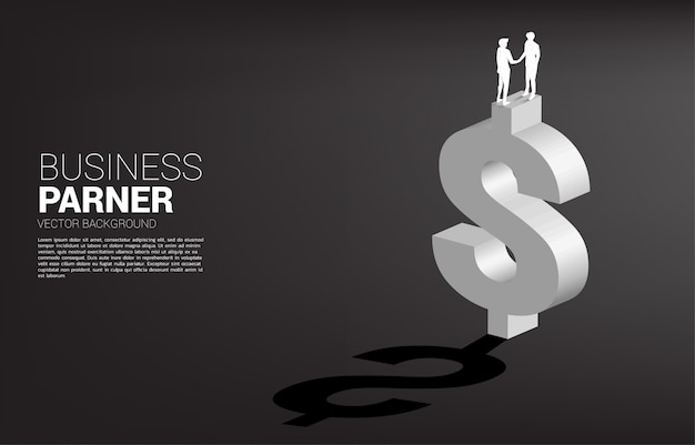 Silhouette of businessman hand shake on dollar currency symbol. concept for business financial partnership.