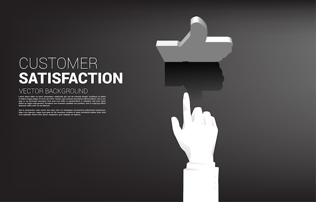 Silhouette businessman hand touch 3d thumb up icon. concept of customer satisfaction , client rating and ranking.