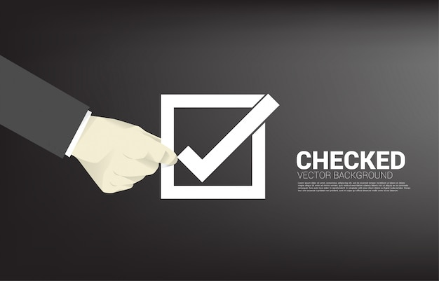 Silhouette businessman hold check box.