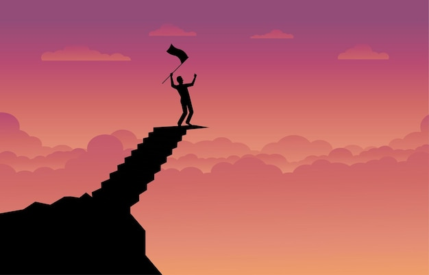 Silhouette of a businessman holding a flag on top mountain stair, sky sunset with sunlight background. business, success, leadership, achievement and goal concept. vector illustration flat
